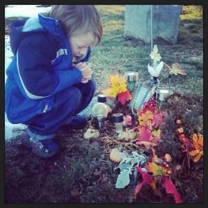 Cj Praying at Joshua's Grave Site.